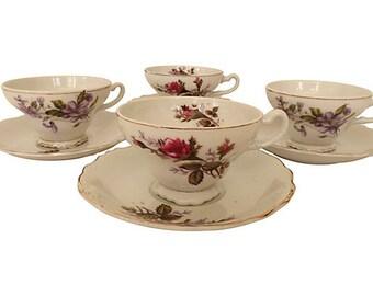 Mixed Porcelain Floral Teacups and Saucers, Mixed China, Wedding Teacups