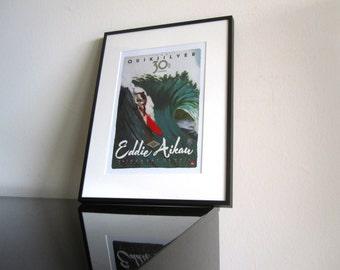 Eddie Aikau - Surfing Legend - Vintage Poster - Quicksilver - Hawaii - Fine Art Print