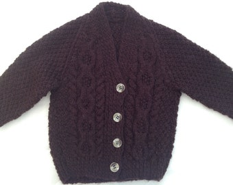 Hand Knitted Baby Boys Arran dbl knit Cardigan age 6-9 mths Brown with traditional buttons  (D3)