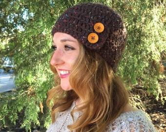 Brown Crochet Hat w/ Wooden Buttons