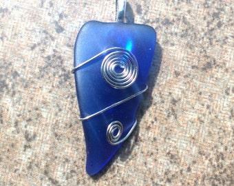 "Cobalt Blue ""Sea Glass"" Pendant"