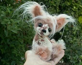 E-pattern Chinese Crested Dog Doll