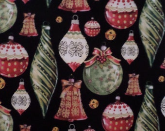 Sale Christmas Fabric Christmas Ornaments On Black Background Cotton Green Red
