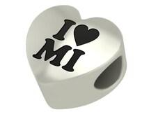Sterling Silver I Heart MI Heart Shape Bead Charm Fits Pandora Style Charm Bracelets