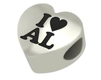Sterling Silver I Heart AL Heart Shape Alabama Bead Charm Fits Pandora Style Charm Bracelets