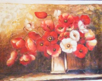 """Red and White Floral Arrangement Original Oil Painting 38"""" x 27"""" Canvas"""
