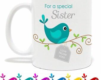 Personalised 'For a Special Sister/Friend/Nanna/Mum' Bird Mug - Mother's Day - Unique Gift - Custom Mug - Birds - For Someone Special Mug