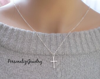 Silver cross pendant etsy confirmation gift sterling silver cross necklace small cross necklace sterling silver cross pendant aloadofball Choice Image