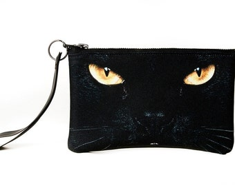 Black Vegan Leather Wristlet Bag - Black Cat