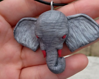 Handmade polymer clay Elephant head silver and hot pink OOAK pendant necklace