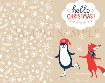 Christmas Cards - The Penguin and the Fox!Digital Copy!Print as many as you wish!Christmas Cheer!Happy Holidays!