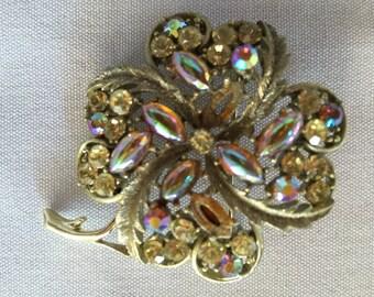 Vintage Four Leaf Clover Rhinestone/Crystal Brooch Pin