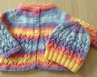 Cardigan with matching beanie