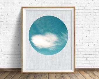 "cloud art, cloud photograph, instant download printable art, printable wall art, large art, pastel blue, printable wall art - ""Formations"""