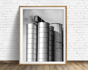 "black and white photography, large art, printable art, instant download printable art, digital download, art prints, industrial - ""Silos"""