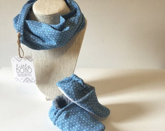Denim Polka Dot Infinity Scarf