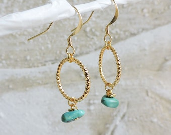 Turquoise and Gold Twist Earrings - Green gemstone, wire wrapped sea green natural stone, gold hook wire twisted gold hoop ring earrings