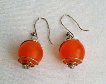 Vintage Silver Plated Wrap Orange Beaded Hook Dangle Earrings