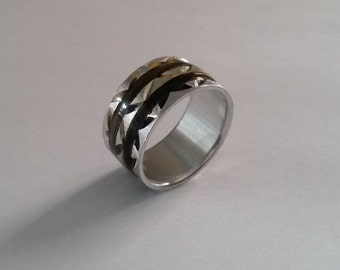 Vintage Aluminium Diamond Cut Band Ring Size 7.25