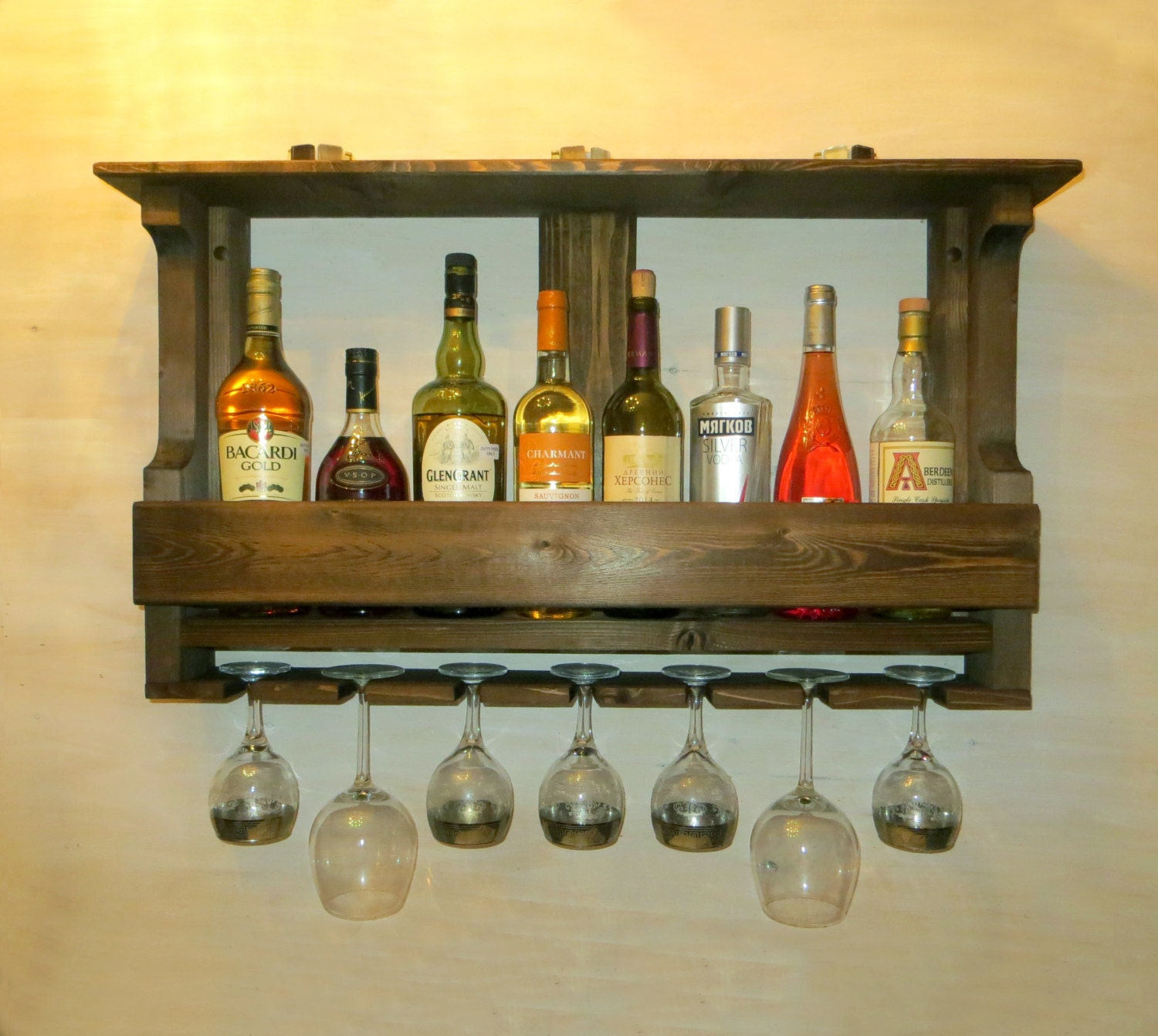 Wooden wine rack kitchen shelf rustic