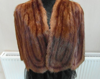 Vintage Fur - Marmot Fur Cape / Shrug.  UK SHIPPING ONLY.