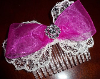Pink Lacy Comb Bow