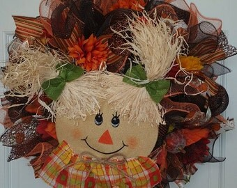 Fall, Autumn, Scarecrow Girl Mesh Wreath
