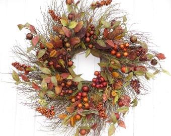 Fall Wreath, Large Fall Wreath, Large Fall Twig Wreath, Wreath, Twig Wreath