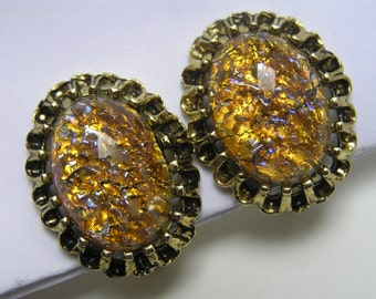 LARGE Foil Glass Earrings - Clip - Victorian revival Jewelry
