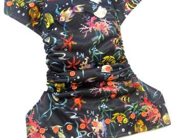 Ocean Fish OS Cloth Pocket Diaper