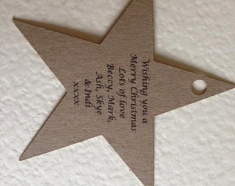 Personalised Star shaped Christmas gift tags