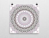 Zen Wall Art // Pink and Gray Decorative Mandala Wall Decor // Bohemian Art Prints // Square Poster
