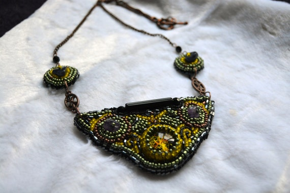 Seed bead embroidery necklace with fantasy tree by