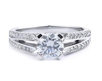 Split Shank Diamond Engagement Ring In 14K White Gold
