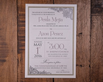 Elegant wedding Invitations, Elegant Invitations, Taupe Wedding Invitation, Taupe Invitation, Lace Invitations,Lace Wedding Invitation