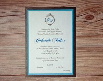Confirmation Invitation, Confirmation Invitations, Turquoise and brown confirmation Invitation, Turquoise and brown confirmation Invitations