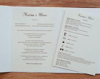 Ribbon Wedding Invitation, Ribbon Invitation, Cream Invitation, Cream Wedding Invitation, Timeline Invitation, Wedding Program Invitation