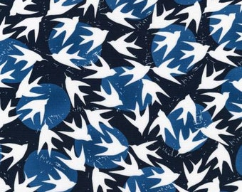 Indigo Birds Cotton Quilt Fabric from Marks Collection by Valori Wells