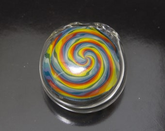 Rainbow Wigwag Hollow Disk Glass Pendant - Boro Necklace