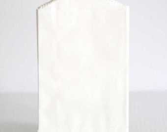 100 Plain /Blank Flat Kraft or White Bags, food safe, favor bags, paper bags, merchandise bags 4x6, 5x7