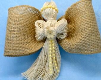 angel, burlap angel, angel decoration, party favor, cheap gift, wedding favors, burlap wedding decor, angel party favor, string angel,