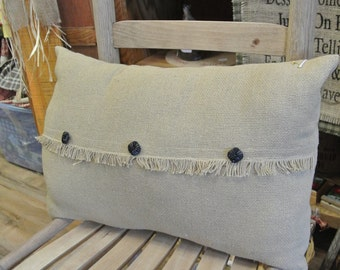 Burlap Primitive Throw Pillow with Black Buttons