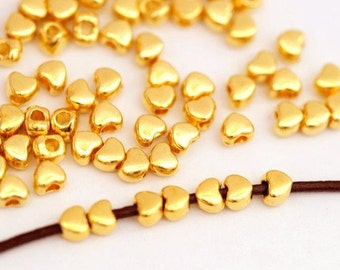 40 Metal Beads Heart 4 mm/gold color