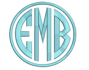 6 Size Circle monogram 3 letters monogram Font BX fonts Embroidery Designs, Machine Embroidery Designs - 9 File Fomats - INSTANT DOWNLOAD
