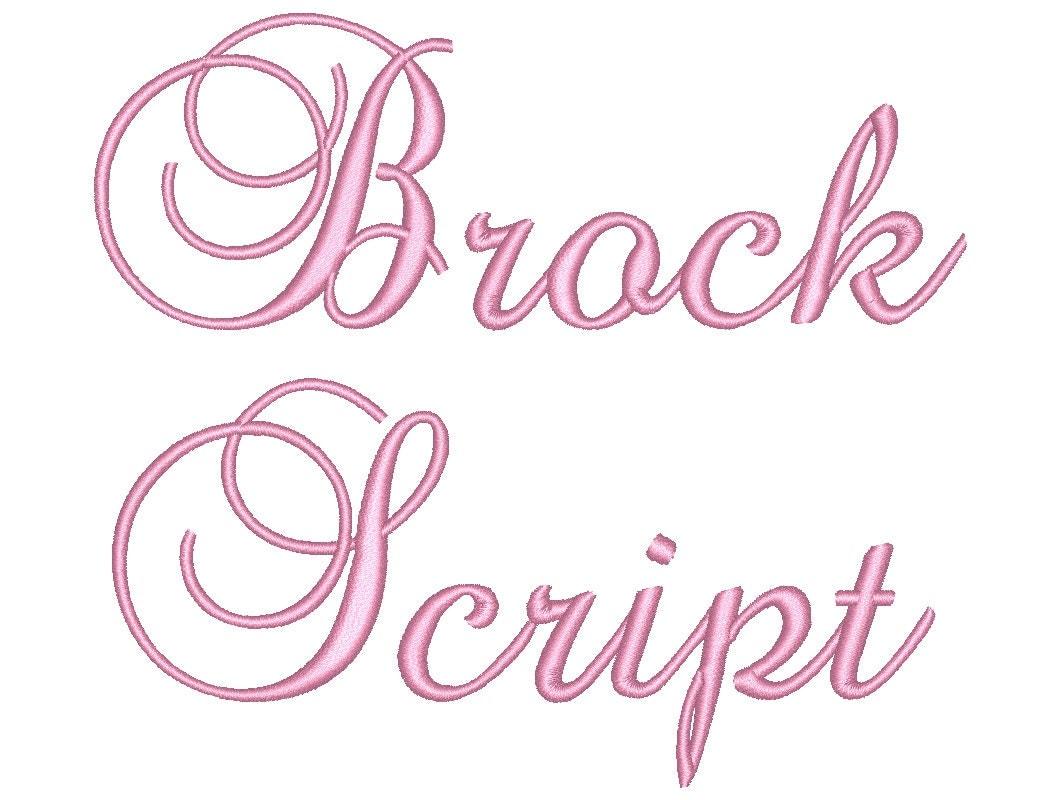Sale size brock script embroidery font bx fonts