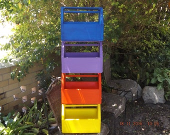 Garden tool carry caddy, childs tool box, rustic paint finish in bright colours, made to be weathered looking quickly.