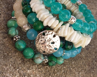 Sand Dollar Beach Memory Wire Bracelet Stack