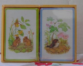 "Vintage Hallmark Bridge Playing Cards ""Forest Images"" Plastic Coated Cards,2 Decks, Mice and Bird, Vintage Deck of Cards, Encased Deck Cards"