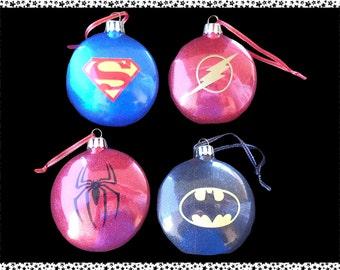 Character Themed Christmas Baubles (superheros)