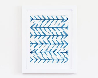 "8 x 10 ""Blue Ikat One"" Watercolor Art Print - Indigo, Cobalt, Bohemian, Boho, Arrows"
